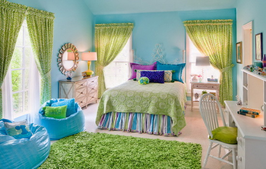 Детская комната в светло-зеленом и голубом цвете