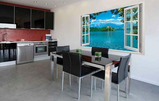 Фотообои с фальш-окном на кухне