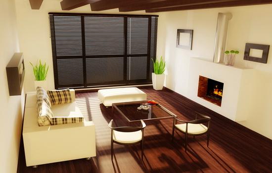 Горизонтальные деревянные жалюзи темно-коричневого цвета