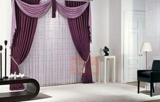 шторы фиолетового цвета в гостиной
