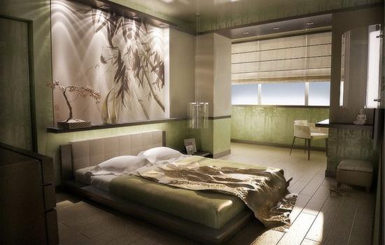 Интерьер светло-зеленой спальни с выходом на балкон