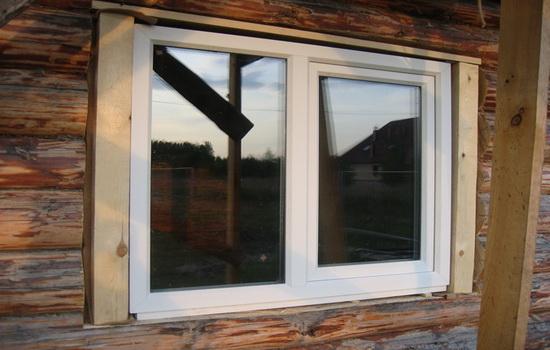 вставка окна в сруб