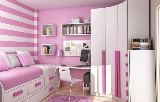 Комната девочки 7 - 10 лет в лилово-розовом цвете
