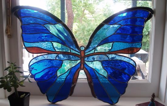 Красивая бабочка на окне