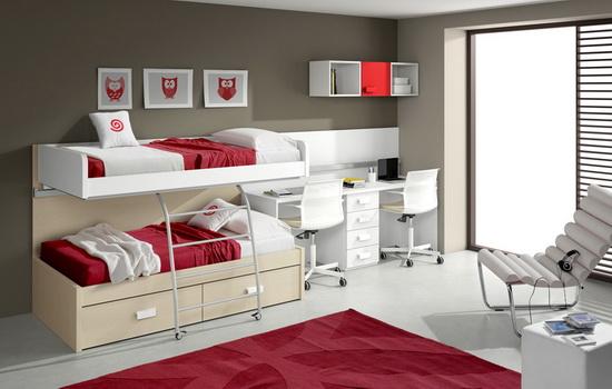 Красный и белый цвет в интерьере детской комнаты