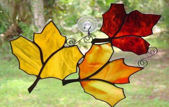 Листья стекле по технике Тиффани
