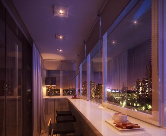 Оригинальное освещение интерьера балкона