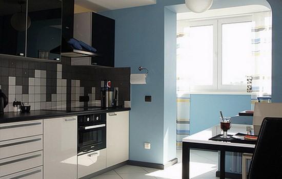 Пример совмещения балкона с кухней