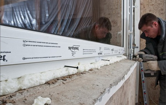 Процесс монтажа стеклопакетов