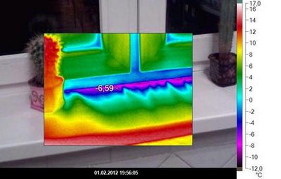 Разница температур отражается на окне