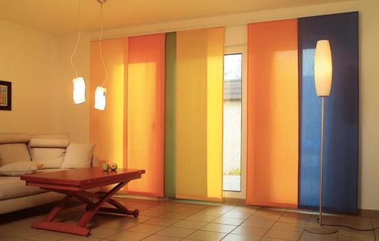 Разноцветные шторы японские