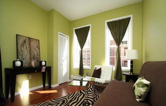Сочетание коричневых штор с зелеными обоями