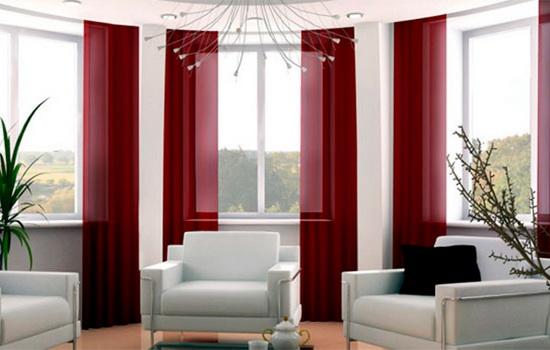 шторы красного цвета в интерьере гостиной