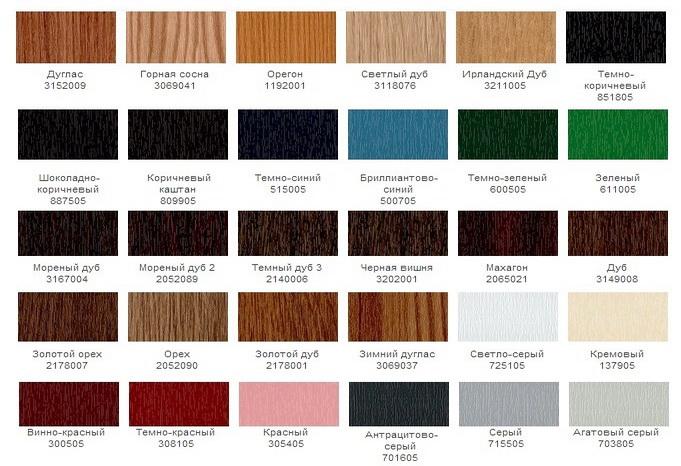 Возможная цветовая гамма ПВХ профиля