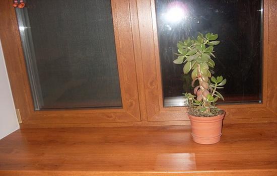 Двухстворчатое окно из пластика со светло-коричневым ламинированием