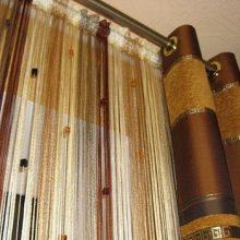 Нитяные шторы в интерьере квартиры. Правила подбора + фото